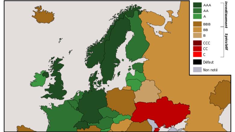 Rating evropských zemí dle Standard & Poor's