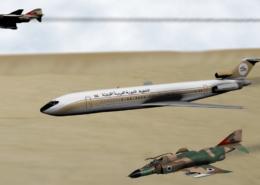 Let 114 v doprovodu izraelských stíhaček; Ilustrace: Wikimedia Commons