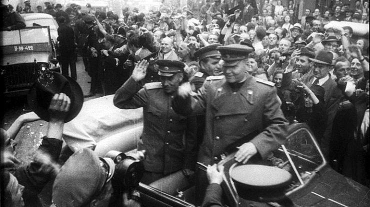 Osvobození Prahy 1945 - maršál Koněv; Foto: Karel Hájek / Wikimedia Commons