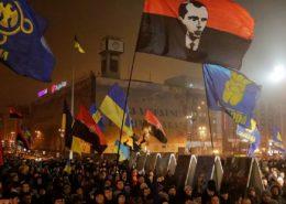 Demonstrace stoupenců Pravého sektoru; Foto: All-ukrajinská unie «Freedom», Wikimedia Commons