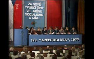 Shromáždění Anticharty 4. února 1977 v Divadle hudby; Reprofoto: Česká televize