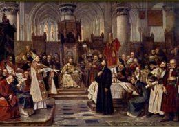 Jan Hus před koncilem 6. července 1415; Ilustrace: Václav Brožík / Wikimedia Commons
