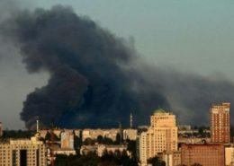 Požáry v Doněcku po útoku ukrajinské armády; Foto: Rusnext.ru
