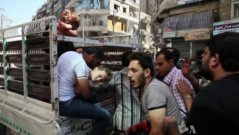 Oběti války v Sýrii; Foto: Voice of America / Wikimedia Commons