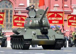 Tank T-34/85 na vojenské přehlídce v Moskvě; Foto: Ruská prezidentská kancelář / Wikimedia Commons