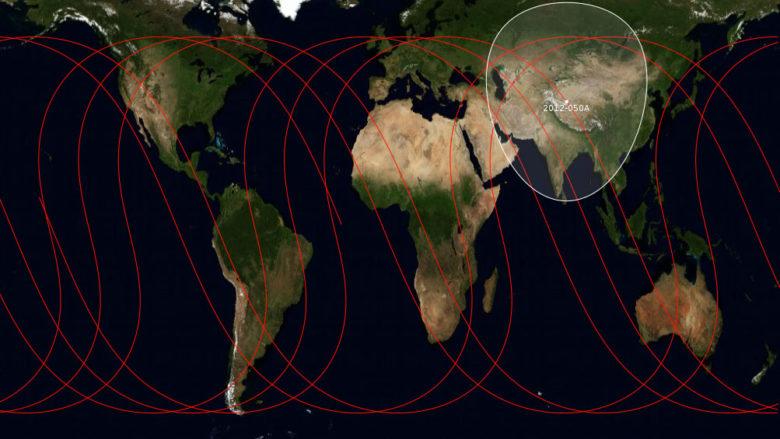 Dráhy satelitů navigačního systému Beidou; Ilustrace: Secretlondon / Wikimedia Commons