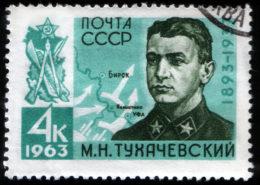 Sovětská poštovní známka z roku 1963 vydaná na počest maršála Tuchačevského; Foto: Andrei Sdobnikov / Wikimedia Commons