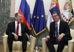 Ruský ministr zahraničí Sergej Lavrov a srbský prezident Aleksandar Vučić; Foto: Twitter Aleksandar Vučić
