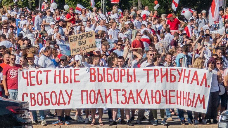 Protesty v Bělorusku proti výsledku prezidentských voleb; Foto: Homoatrox / Wikimedia Commons