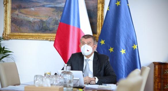 Vystoupení předsedy vlády Andreje Babiše na videokonferenci členů Evropské rady, 25. března 2021; Foto: vlada.cz