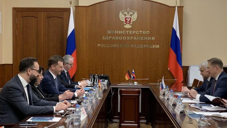 Delegace saského premiéra při jednáních v Moskvě; Foto: profil M. Kretschmera na sociální síti
