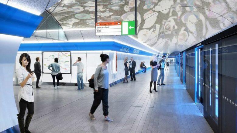 Interiér jedné ze stanic nové trasy Metra D; Foto: Dopravní podnik hlavního města Prahy, a.s.